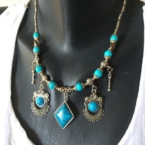 Turquoise beaded Charm Silver Chain Necklace